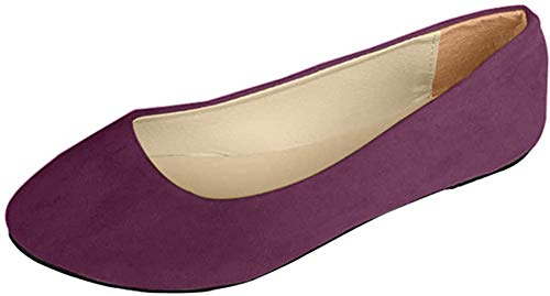 Stiefel Damen Flachschuhe Einzel Schuhe Frauen Sandalen Casual Halbschuhe Comfort Sohle Freizeitschuh Wildleder,Lila,EU 37