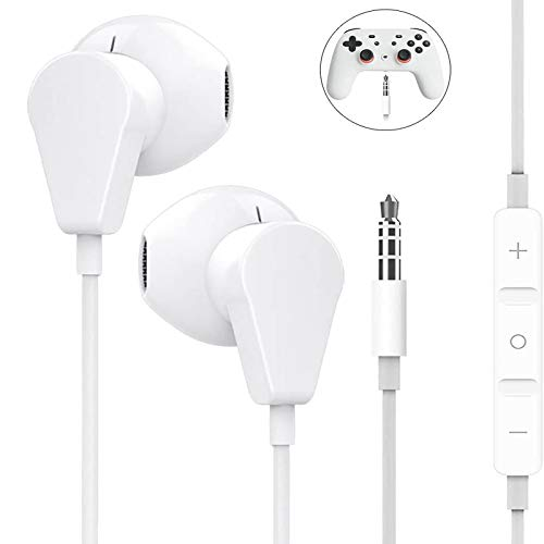 Geekria 3.5MM Earbuds with Mic for PS4, Googlë Stadia, Xböx One, Níntendo Switch, Laptop, PC, Smartphone, Gaming Earphones with Microphone and Volume-Control, Stereo Headphones. - White