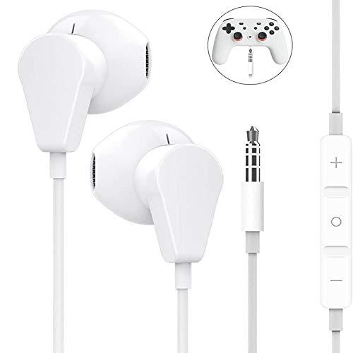 Geekria - Auriculares diadema para Google Stadia, PS4, Xbox One, ordenador portátil, tablet, PC, teléfonos móviles, auriculares con micrófono y control de volumen, auriculares estéreo HiFi de 3,5 mm