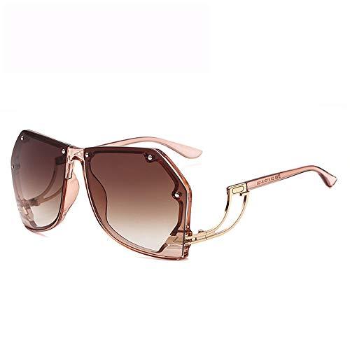 Ou lida Damen Sonnenbrille Ozean Siamesische Retro Sonnenbrille Sonnenbrille Champagner Rahmen Tee Scheiben