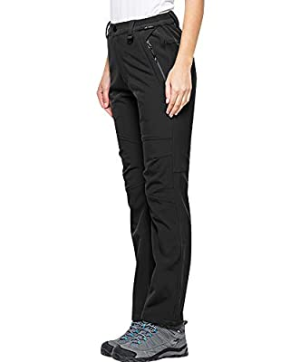 Women's Snow Fleece-Lined Soft Shell Insulated Waterproof Pants Tactical Winter Hiking,Camping,Travel 5022,Black,32