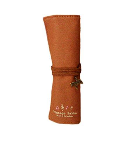 Fablcrew vintage Wrap Rouleau de sac Trousse Maquillage Sac de rangement 20 trous Café
