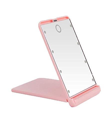 Miroir de maquillage de voyage compact et lumineux à LED grossissement 1X et 2X 8 lumières LED lumineuses pliantes portables miroirs cosmétiques miroir de poche,Pink