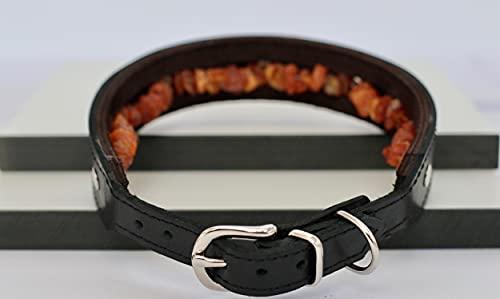 Generisch Hundehalsband aus Leder mit natürlichem Baltischen Bernstein | Bernsteinkette für Hunde | Zeckenhalsband (45-50 cm)