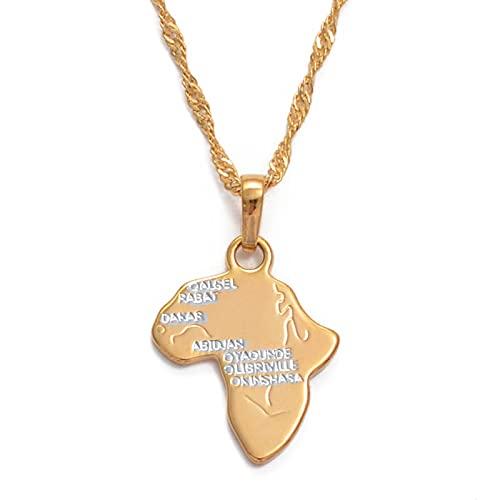 QDGERWGY Mapa de África, Collares Pendientes para Mujeres/niñas, Rosa, Dos Colores, mapas africanos, joyería etíope