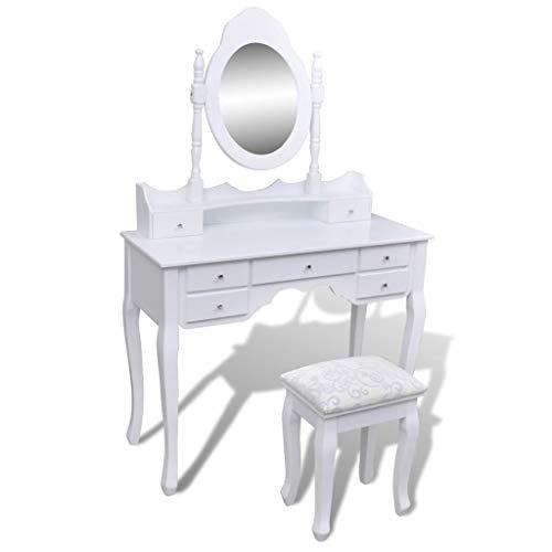 vidaXL Schminktisch mit Spiegel Hocker Weiß Frisiertisch Kosmetiktisch Kommode