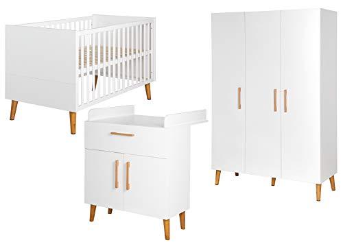 """roba Komplett-Kinderzimmer """"Mick"""", Baby-/Kinderzimmerset inkl. Baby-/Kinderbett mit einer Liegefläche von 70 x 140 cm, Wickelkommode mit Wickelansatz & 3-türigem Schrank; Dekor """"Weiß"""" und """"Goldeiche"""""""