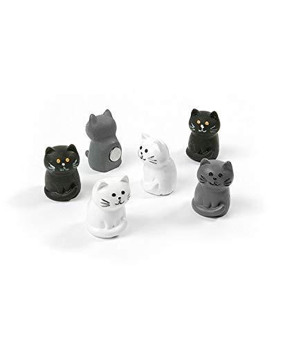 first4magnets™ Verschiedene Tiere Stil Büromagnete - Katzen (1 Set von 6), Metall, Silver, 40 x 20 x 5 cm