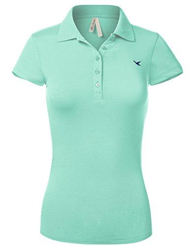 Slim Fit Long Waist Short Sleeve Plain Polo Tee Shirts,102-Aqua,US L