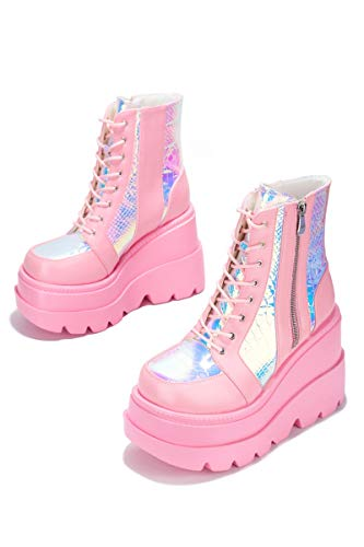 Cape Robbin Radio Holographic Platform Ankle Boots with Chunky Block Heels for Women - Pink Size 10