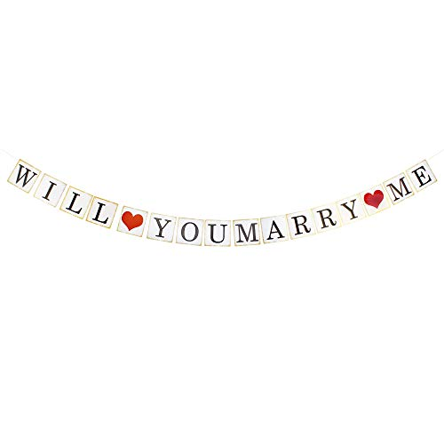 Will You Marry Me Red Heart White & Gold Party Bunting Banner Wedding Anniversary Propose Photo Prop Decoration Sign Supplies.