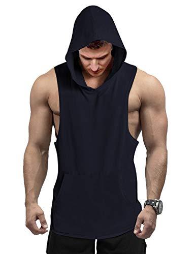 COOFANDY Camiseta deportiva sin mangas para hombre, con capucha, para gimnasio, entrenamiento, culturismo, etc. azul marino XXL