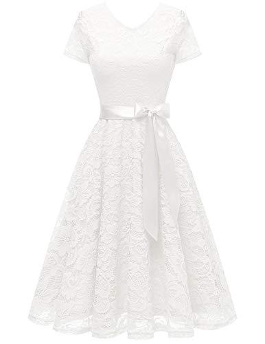 bridesmay Damen 50S Retro Spitzenkleid Kurzarm Elegant Brautjungfernkleid Abendkleider White M