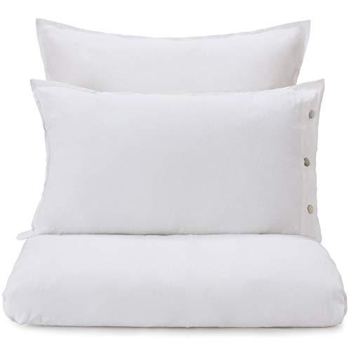 """URBANARA Bettdeckenbezug """"Bellvis"""" – 135cm x 200cm, Weiß, 100% europäisches Leinen – Leinenbettwäsche, Sommerbettwäsche"""