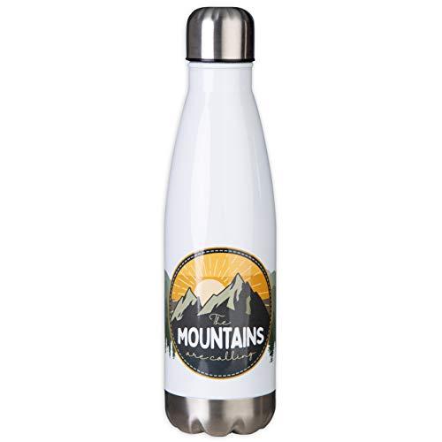 Mountains Are Calling Thermosfles van roestvrij staal in outdoor design, ideaal voor reizen, kamperen, trekking. Dubbelwandige isolatie, houdt lang warm en koud – isoleerbeker van MUGSY.de.