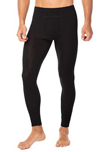 LAPASA Herren 100% Merinowolle Lightweight leichte Thermounterhose Lange Unterhose Thermounterwäsche leicht dünn M30 (M, Schwarz)