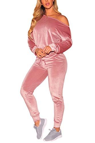 Fixmatti Women Off Shoulder Sweatshirt Athletic Sweat Pant Long Sleeve Tracksuit M Pink