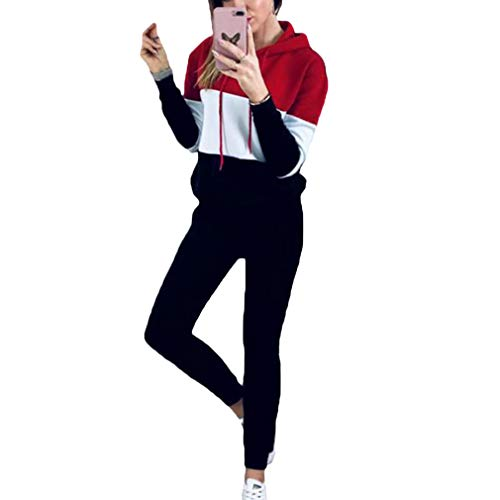 Yying Conjunto de Dos Piezas para Mujer Trajes Chándal Sudadera con Capucha de Manga Larga Sudadera y Pantalones Largos Joggers Suit Lounge Sweatsuit