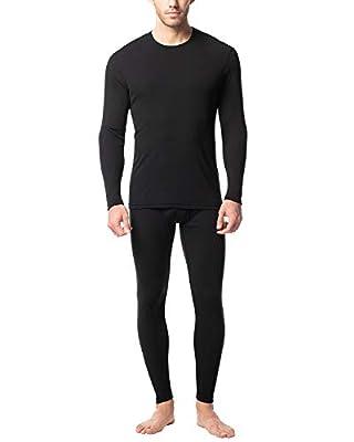 LAPASA Men's Preswarm Heat Generation Thermal Underwear Long John Set Lightweight Base Layer Top and Bottom M66 (Large, Black)