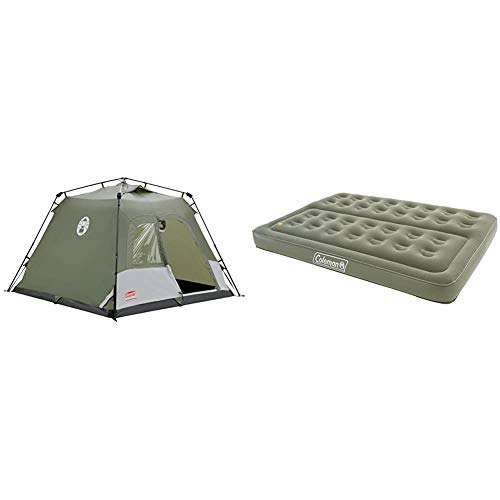 Coleman Tent - Green/White & Comfort Double Flocked Surface Inflatable Camp Air Bed - Green, 188 x 137 x 22 cm