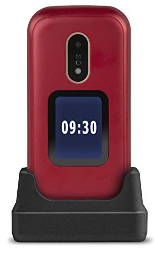 Doro 6060 Teléfono Móvil 2G Dual SIM para Mayores con Tapa con Teclas Grandes, Pantalla Externa, Botón SOS con GPS y Base de Carga [Versión Española y Portuguesa] (Rojo)