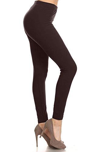 EXTRAPLUS128-BROWN Basic Solid Leggings, Extra Plus