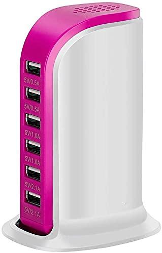 Estación de carga múltiple con 6 puertos USB,divisor de alimentación,extensión externa de 30 W, 6 A, estación de carga rápida para escritorio,conector hembra de expansión,inserto de platoón(rojo rosa)