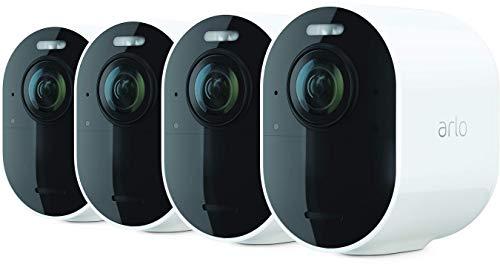 Arlo Ultra 2 Spotlight, Sistema di Videosorveglianza WiFi 4K HDR, Faro e Sirena integrati, Sensori di movimento, Audio 2 vie, Visione 180° Diurna Notturna, Kit 4 telecamere + base, Bianco, VMC5440
