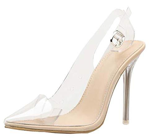 Frauen Sandalen PVC Spitz Klar Durchsichtigen High Heel Pumps Stilettos 2019 Slingback Hochzeit Kleid Schuhe Sommer (39 EU, Aprikose)