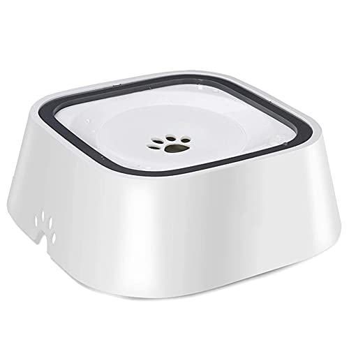 SJYDQ 1.5L Dog Water Bowl Machine Carried Floating Bowl Cats Water Bowl Slow Water Feeder Dispenser Anti-Overflow Pet (Color : White)