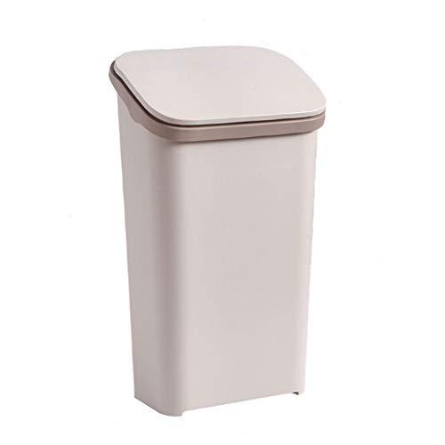 Xiaoli Cubo de Basura Bote de Basura Grande, Bote de Basura de plástico Tapa, Estilo nórdico, Casa Elegante para la Cocina Sala de Estar Oficina Papeleras (Color : Beige, Size : S)