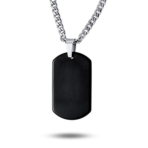 Básica Simple Engravable Mens Black Perro Placa De Tungsteno para Hombres Collar Colgante con Cadena De Acero Inoxidable