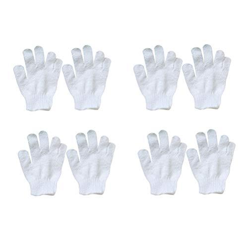 Healifty Peeling-Handschuhe, 5 Finger, weiches Badetuch, Weiß, 8 Stück