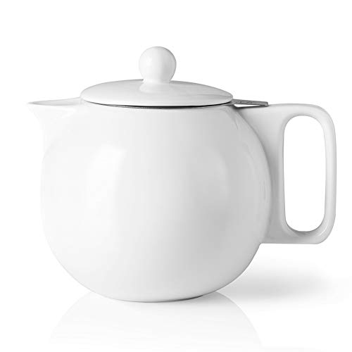 SWEEJAR Ceramic Teapot with Infuser, 40 Ounce, Porcelain Tea Pots for Loose Leaf Tea, with Stainless Steel Strainer and Lid for Gift, Party, Family, Thanksgiving, Christmas, (White)