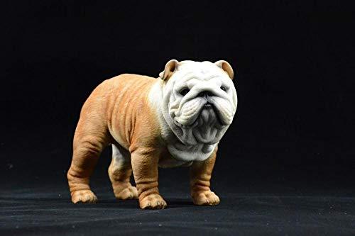 PHJK Statue e sculture da Giardino Nuovo Bulldog Inglese Modello Decorazione Resina Artigianato Simulazione Regalo Decorazione per Auto Decorazione per Cani
