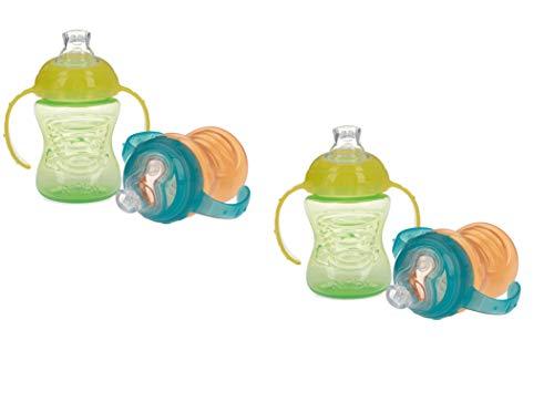 Nuby No-Spill Super Spout Grip N' Sip Cup (Orange/Green-4 Pack)