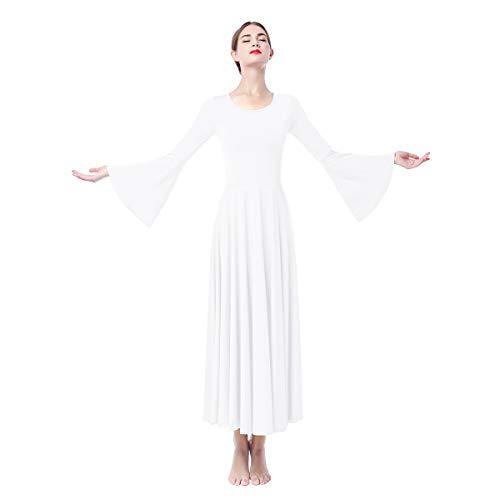 OBEEII Donna Vestito Liturgico Manica Lunga Abito da Balletto Ginnastica Body Classico Danza Combinazione Chiesa Preghiera Coro Costume Bianco S