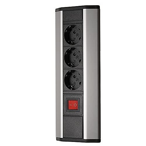 Regleta de 3 enchufes con interruptor, color negro y plateado, para cocina y oficina, enchufe múltiple vertical y horizontal, cable de 2 m como enchufe de mesa, enchufe de cocina, enchufe de esquina