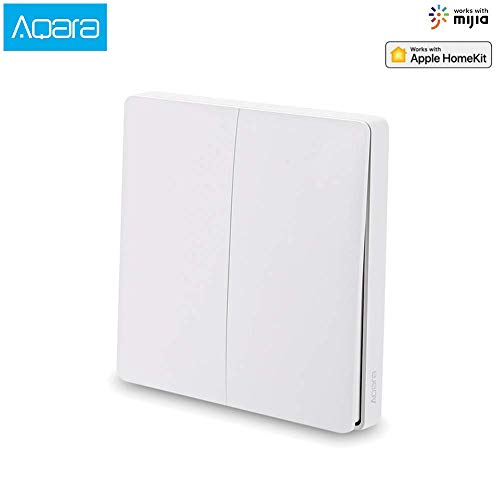Aqara Interruptor Wifi Wireless Smart Switch[2020 Nueva Versión], interruptor inalambrico Compatible Con La para Mijia Y para Homekit, Control Remoto De App, No se necesita cable (2 Botón)