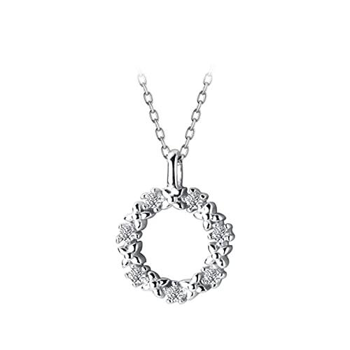 Freaiaqy Clásico Deslumbrante circonita pequeña Flor Redonda Plata esterlina 925 Colgante Collar para Mujer Lujo Boda Regalo joyería Fina