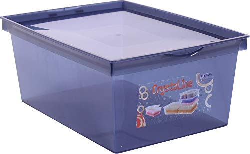 EDA Boîte de Rangement Plastique Crystaline 10 l - Bleu Profond