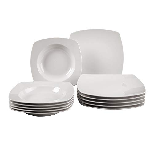 Villeroy & Boch Group Vivo Simply Fresh Juego de mesa para 6 personas, 12 piezas, Porcelana Premium, Blanco