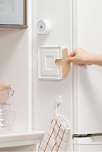 Filterpapierhalter/Konische Handgebrühter Kaffee Filterpapier Box Filterpapier Lagerregal Mit Magnet Staubdicht Bequemlichkeit und Lagerung (Weiß)