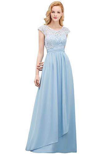 Babyonlinedress® Damen Chiffon Hochzeit Brautjungfer Lang Brautkleider Abendkleider Faltenrock Hellblau 40