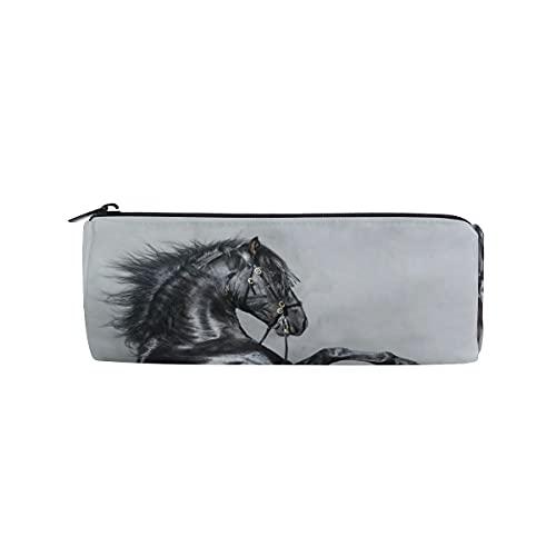 PUXUQU Federmäppchen Schwarz Andalusisches Pferd Federtaschen Bleistiftetui Bleistift Tasche Büro Tasche für School College Mädchen Jungen Kinder Teen