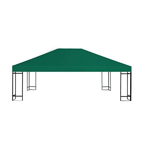 lyrlody- Funda de repuesto para cenador de jardín, color verde, techo de repuesto para pabellón con revestimiento de PVC resistente al agua, 310 g/m2, 4 x 3 m, color verde