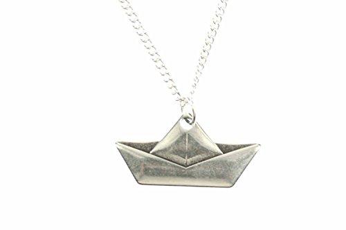 Miniblings Papierschiff Segelschiff Halskette - Handmade Modeschmuck I Kette mit Anhänger Länge: 45cm - Segelboot Origami gefaltet