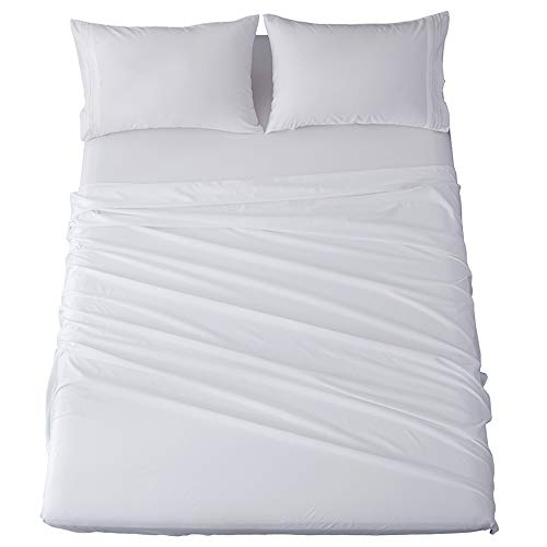 King Size Bed Sheets Set Microfiber 1800 Thread Count Percale Super Soft and Comforterble 16 Inch Deep Pockets Wrinkle Fade and Hypoallergenic - 4 Piece (White, King)