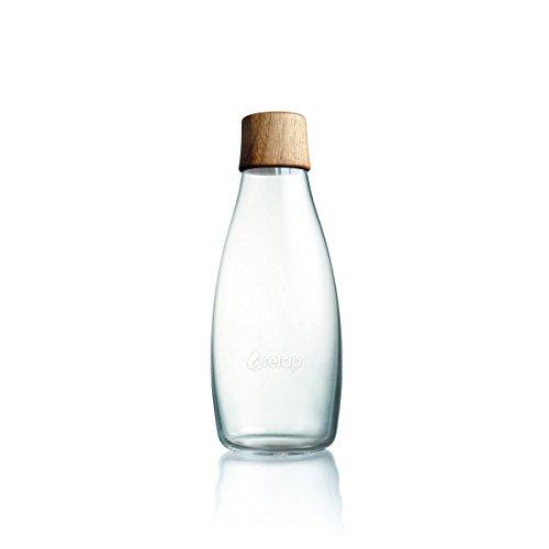 Wiederverwendbare Wasserflasche mit Holzdeckel - 0,5 Liter