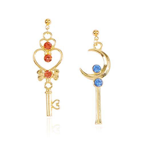 Pendientes Sailor Moon, pendientes AB alrededor de la clave de la luna de moda 2.2 * 0.5 pulgadas de oro